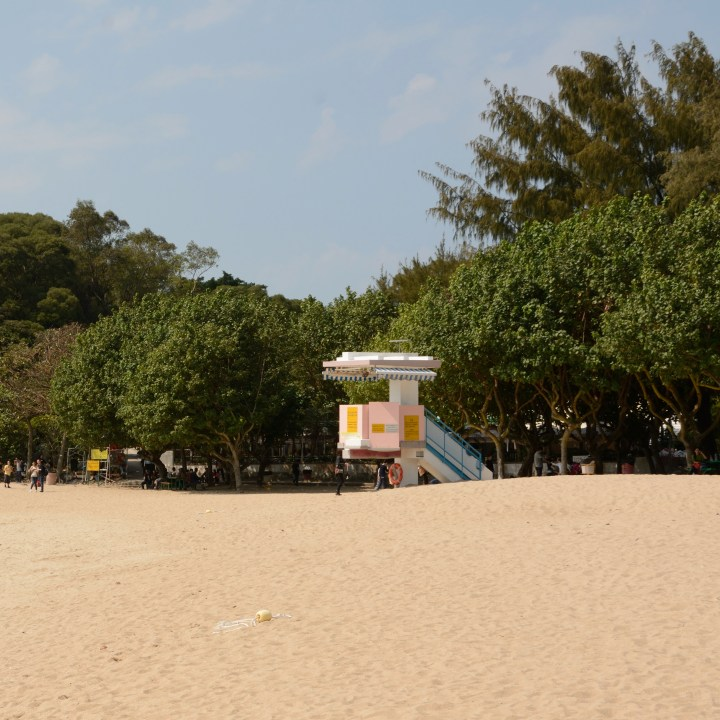 travel hong kong with kids children lamma island hung shing yeh beach lifeguard tower