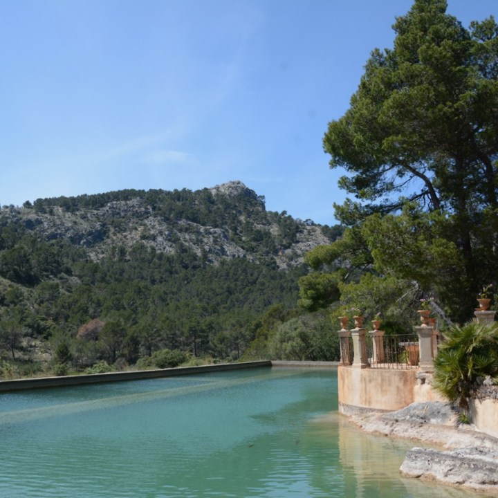travel with kids children mallorca spain raixa estate large pond