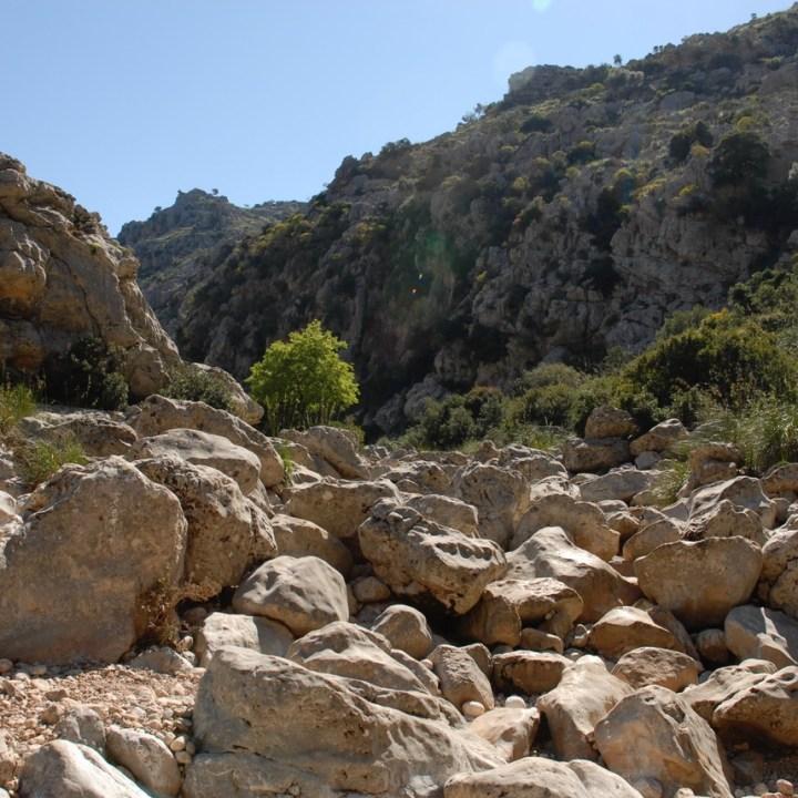 travel with kids children soller mallorca spain hiking torrent de pareis stream bed