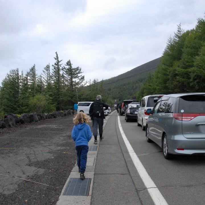 travel with kids hiking mount fuji japan car park