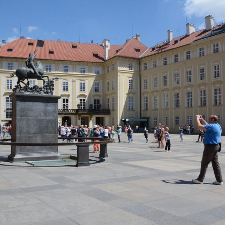 travel with kids prague castle statue