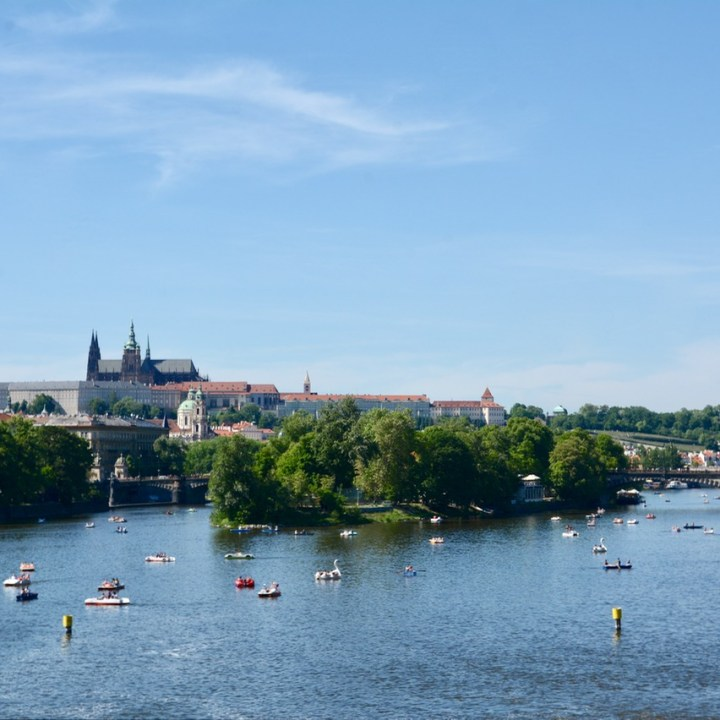 travel with kids prague charles bridge pedal boats