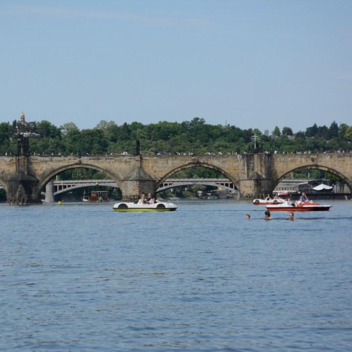travel with kids prague pedal boat charles bridge