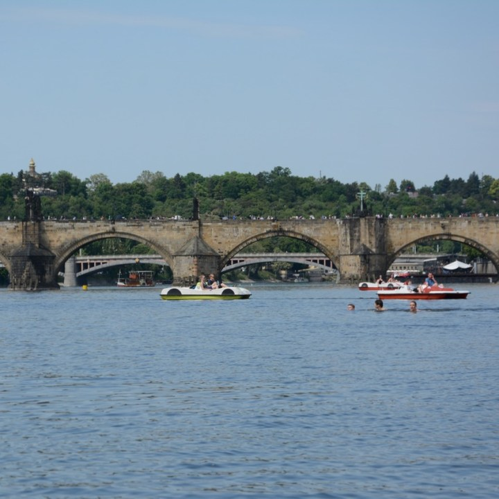 travel with kids prague pedal boat charles bridge