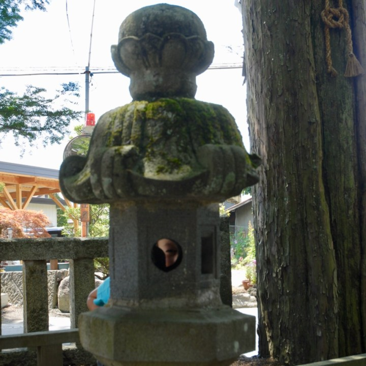 cycling with kids lake yamanakako temple stone lantern