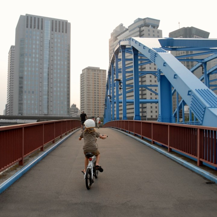 tokyo japan with kids cycling haneda bridge