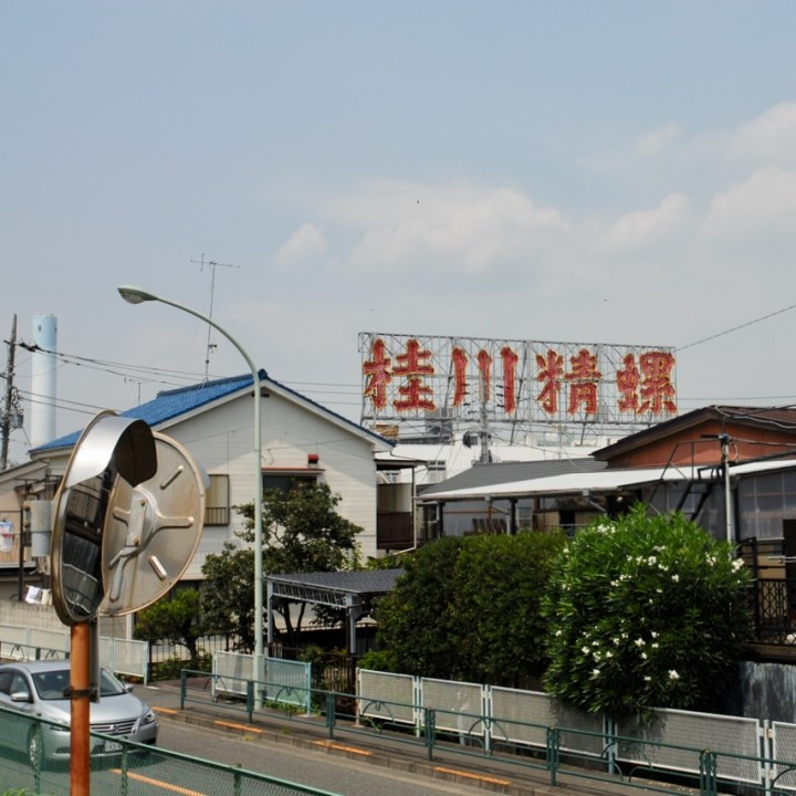 cycling the tame river tokyo japan with kids neo sign