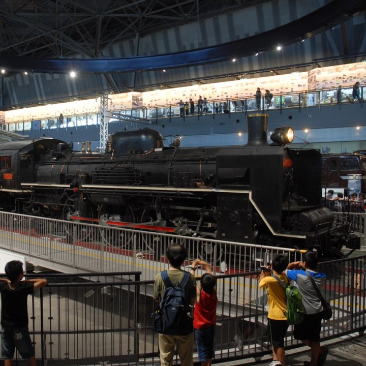 tokyo train museum with kids steam train