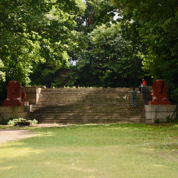 crystal palace park with kids sphinx