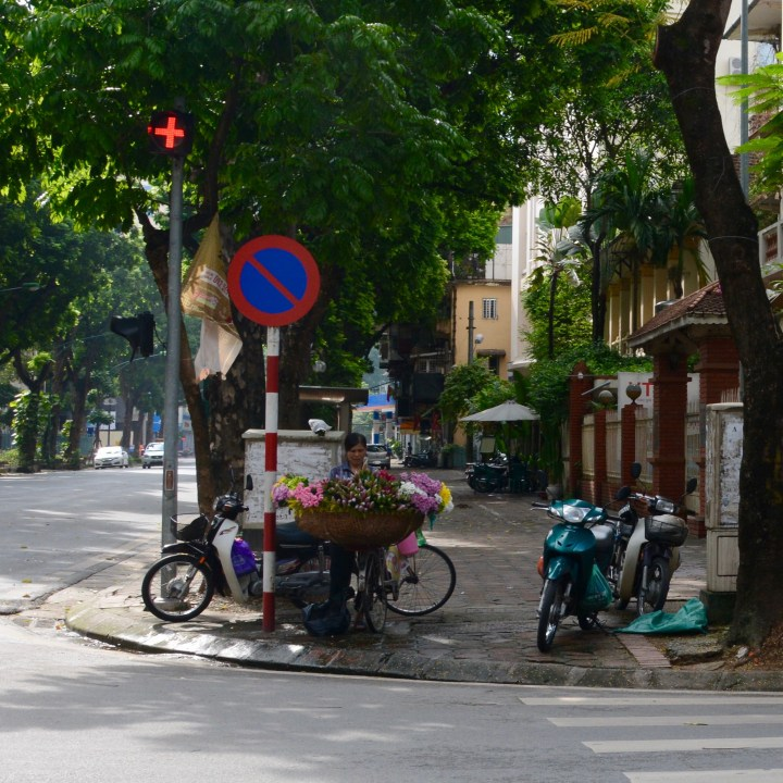 travel with kids vietnam hanoi flower lady