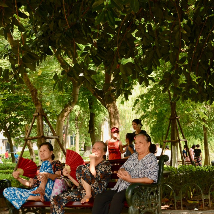 travel with kids vietnam hanoi old women