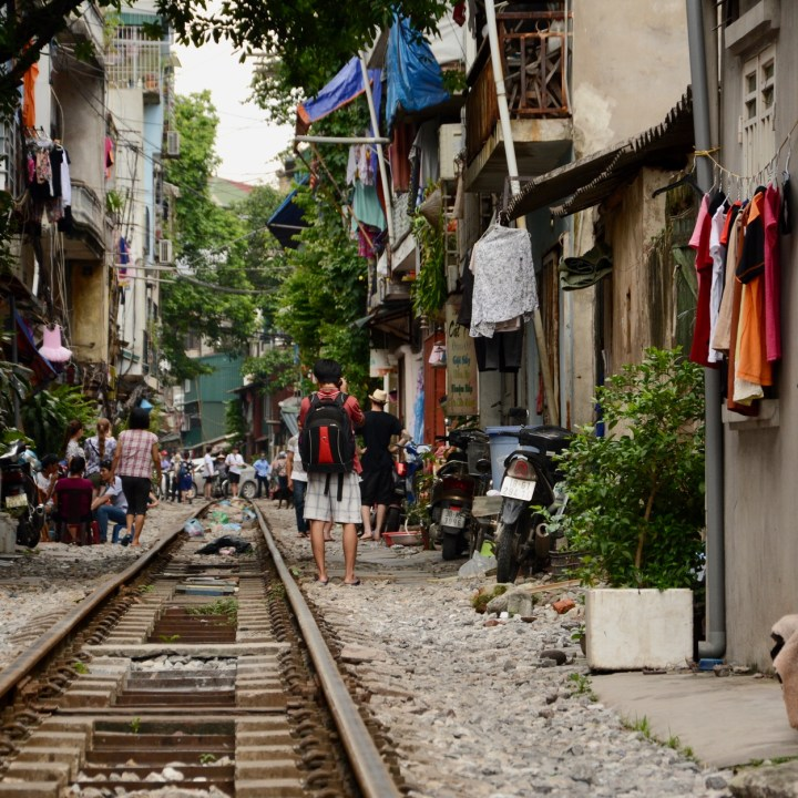 travel with kids vietnam hanoi train tracks