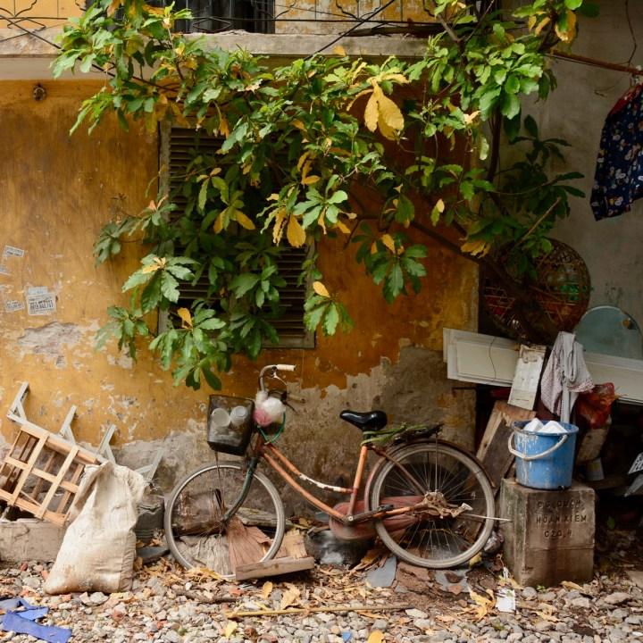travel with kids vietnam hanoi abandoned bike