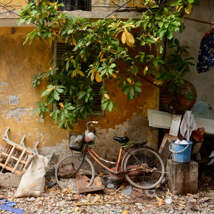 travel with kids vietnam hanoi abandoned bike