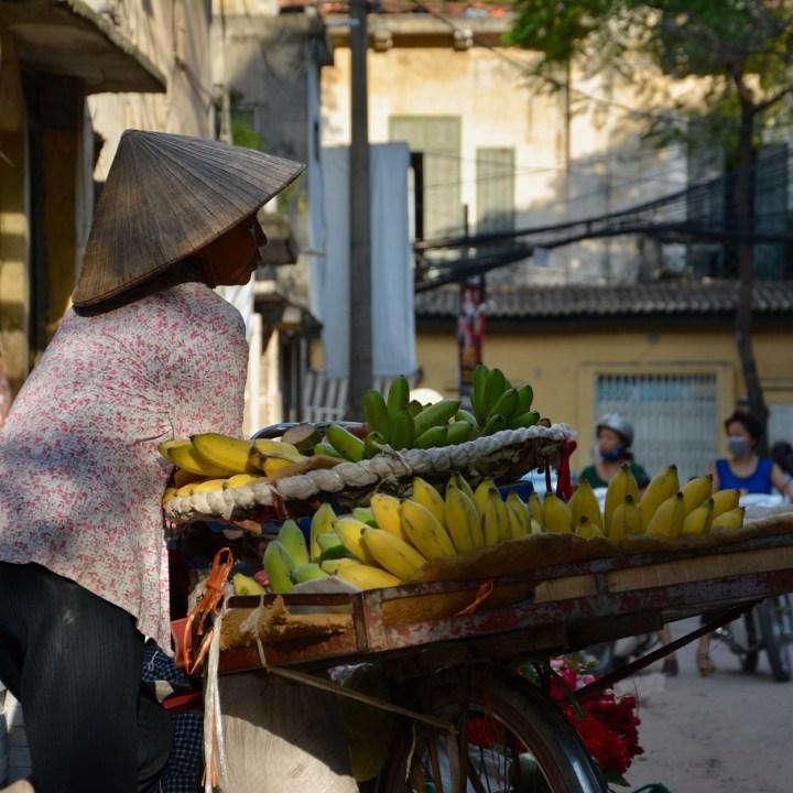 travel with kids vietnam hanoi banana lady
