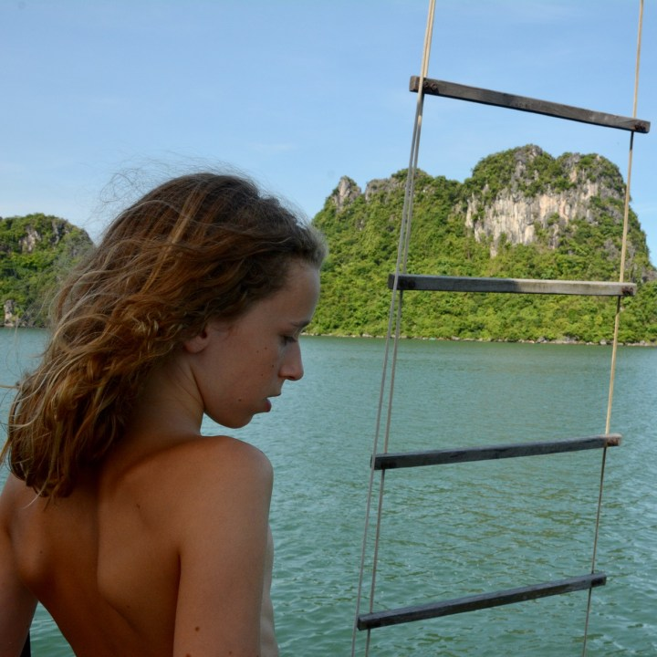 vietnam with kids ha long bay sun bathing
