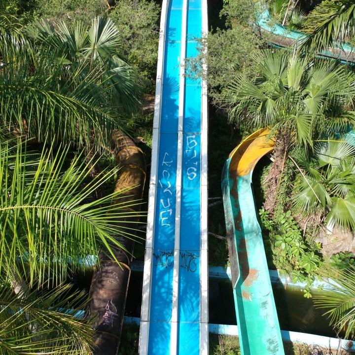 vietnam with kids hue abandoned waterpark slide