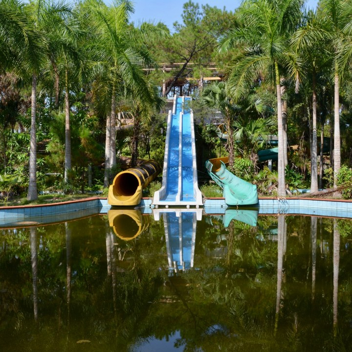 vietnam with kids hue abandoned waterpark slides