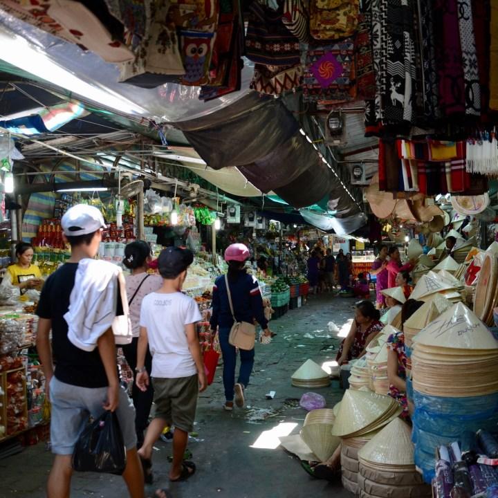 vietnam with kids hue market hats