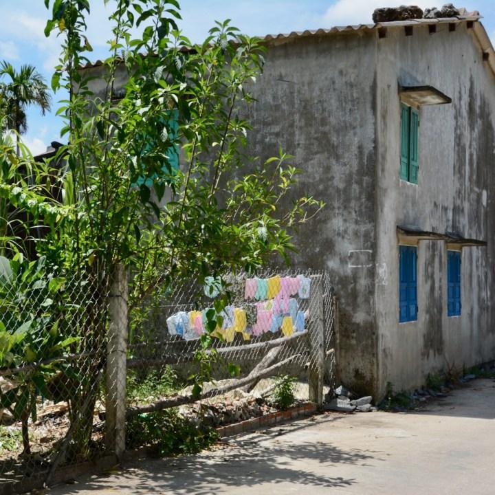 vietnam travel with kids hoi an rural bike ride washing line