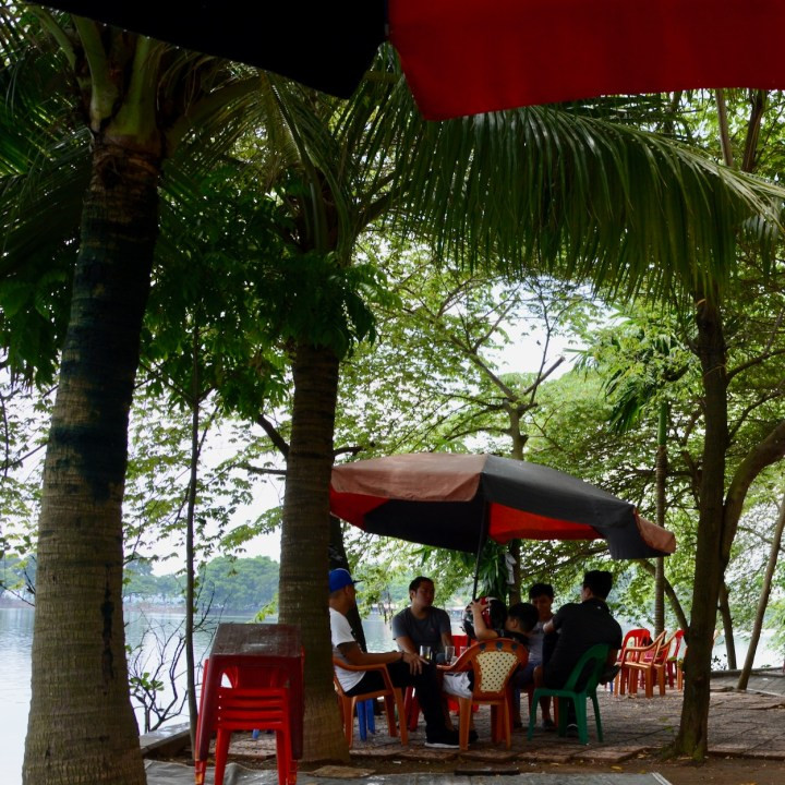 hanoi with kids cafe truc bach lake
