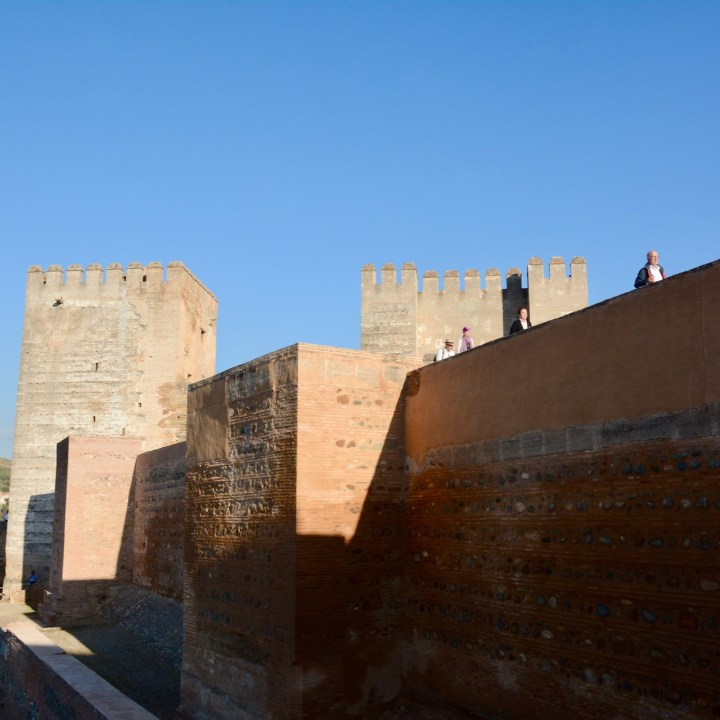 alhambra with kids alcazaba tower wall