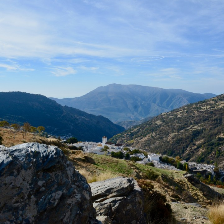 hiking with kids las aplujarras capileira village view