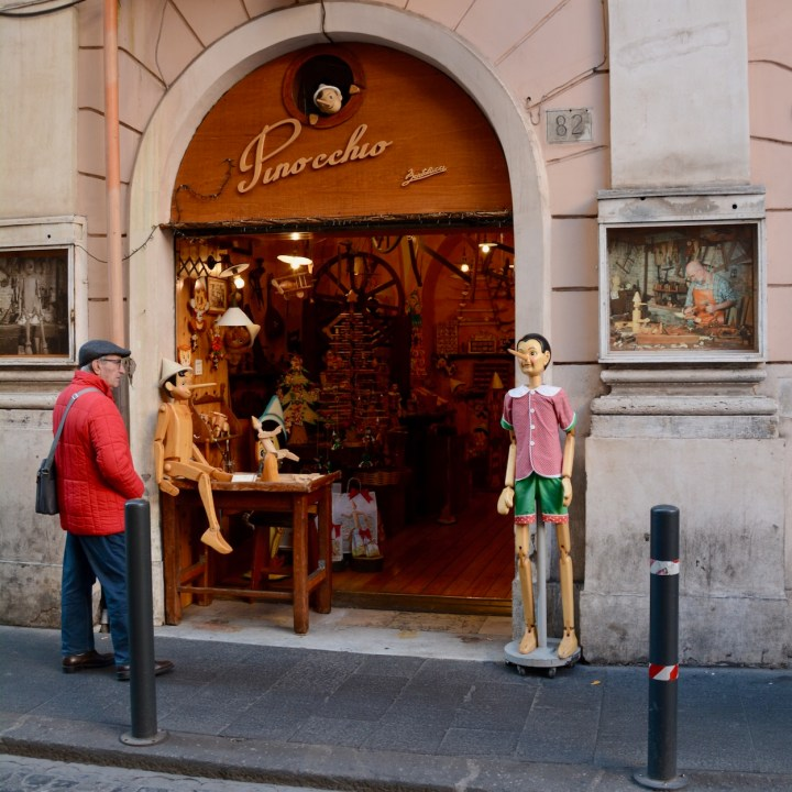 Rome with kids Pinocchio store