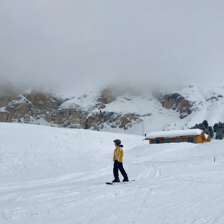 seiser alm skiing with kids snowboard beginner