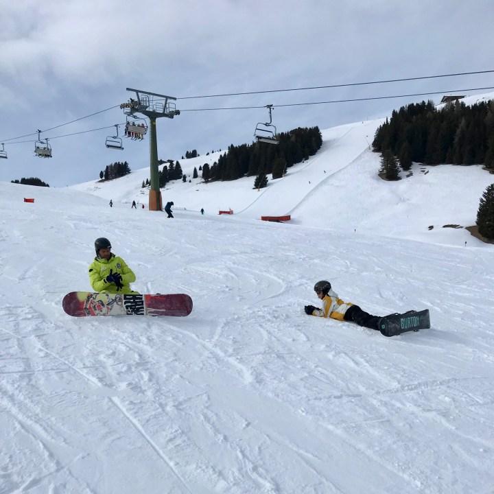 seiser alm skiing with kids snowboard teacher