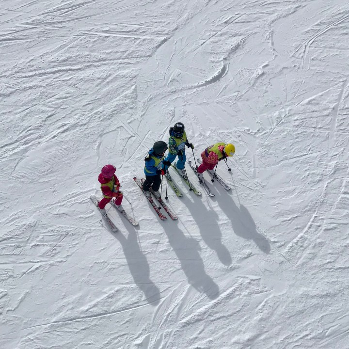 seiser alm skiing with kids looking down