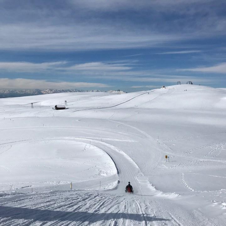 seiser alm skiing with kids sledge run