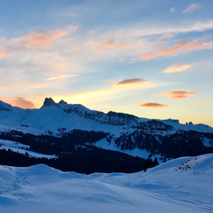 seiser alm skiing with kids golden hour