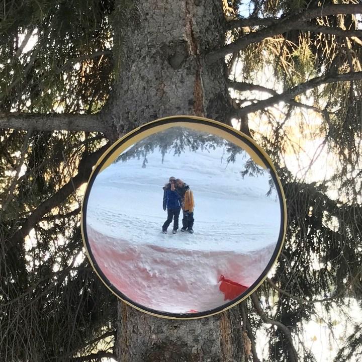 seiser alm skiing with kids mirror selfie