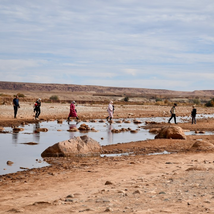Ait Benhaddou with kids Morocco stepping stones