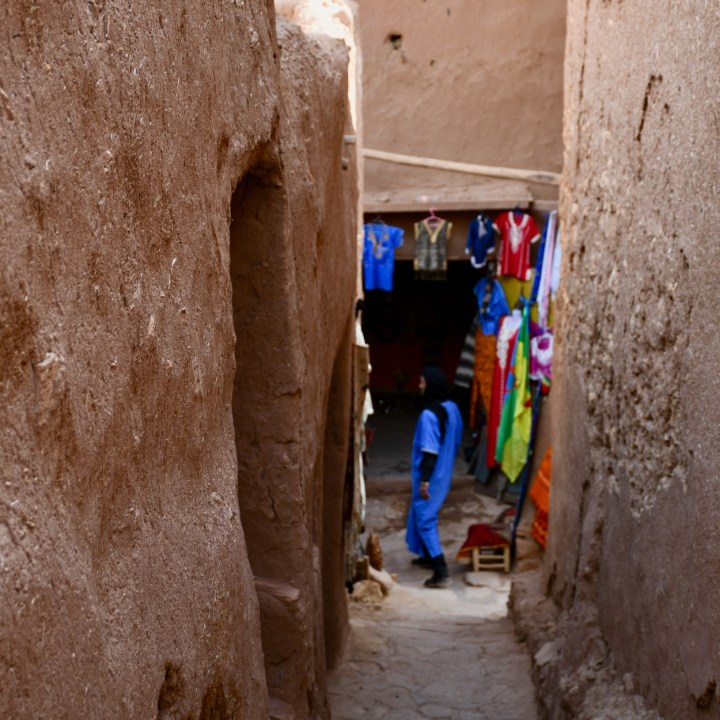 Ait Benhaddou with kids Morocco colourful shop