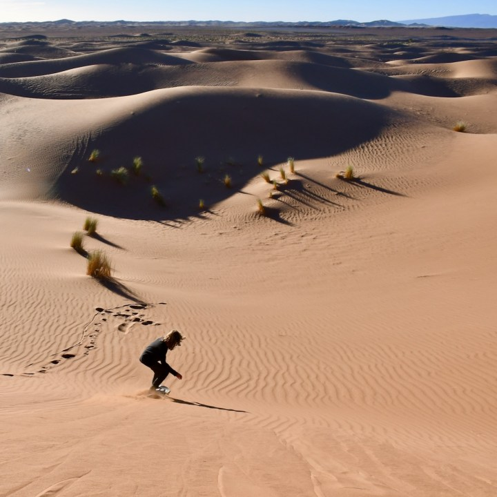 sahara desert erg chigaga with kids sand boarding