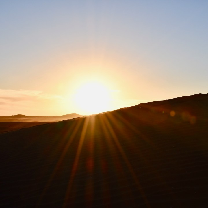 La Kahena luxury camp Erg Chigaga Sahara golden hour