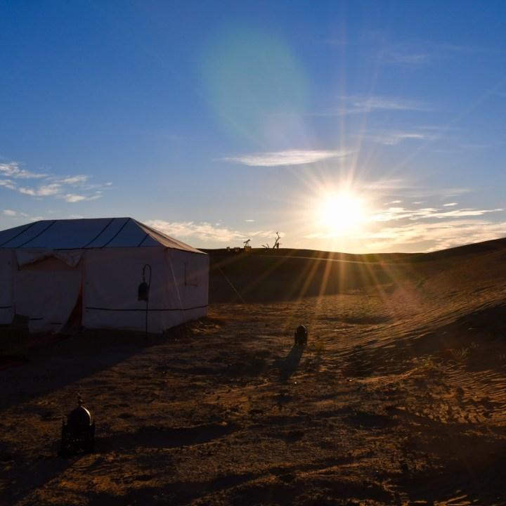 La Kahena luxury camp Erg Chigaga Sahara sunrise