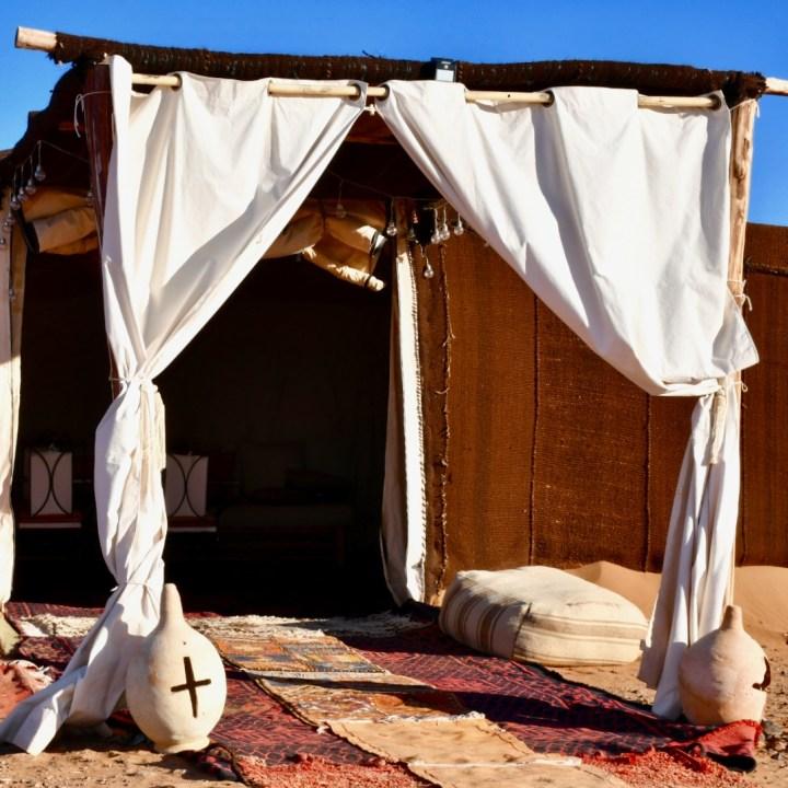 La Kahena luxury camp Erg Chigaga Sahara main tent
