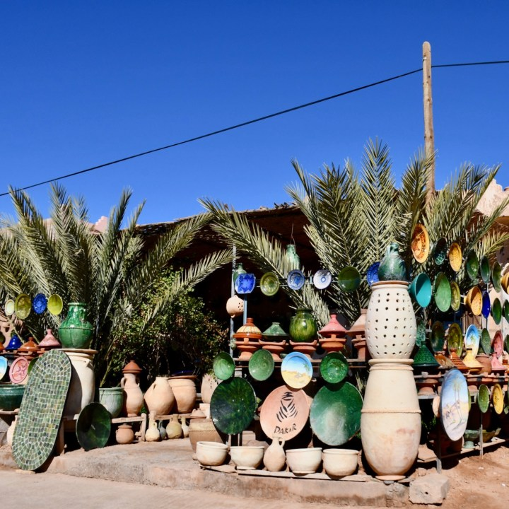 Morocco with kids drive M'Hamaid pottery shop