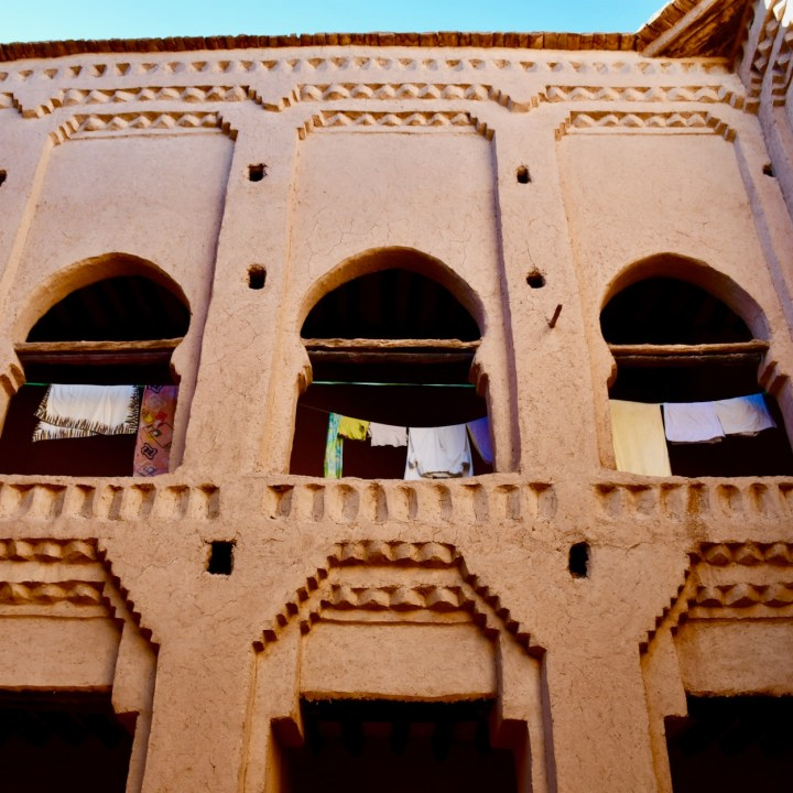 kasbah caids with kids Morocco washing line