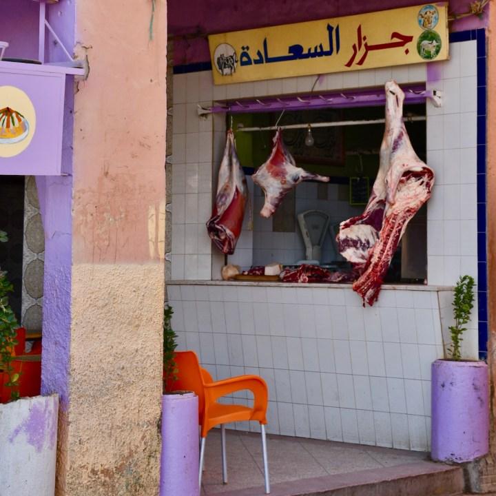 Agdz with kids Morocco butcher