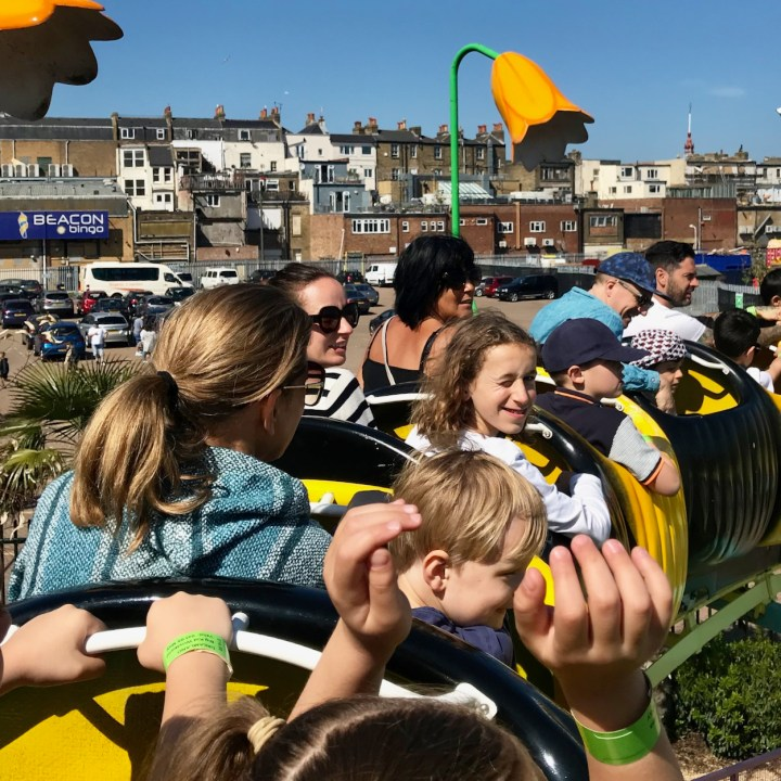 Margate dreamland with kids roller coaster