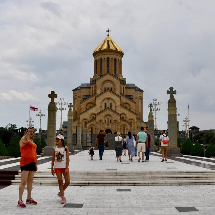 Tbilisi with children trinity church