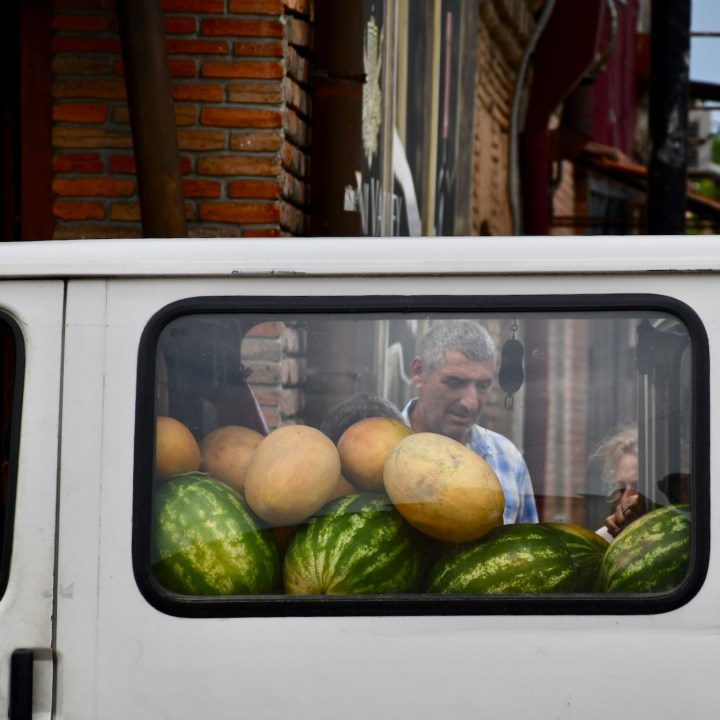 Tbilisi with children melon man