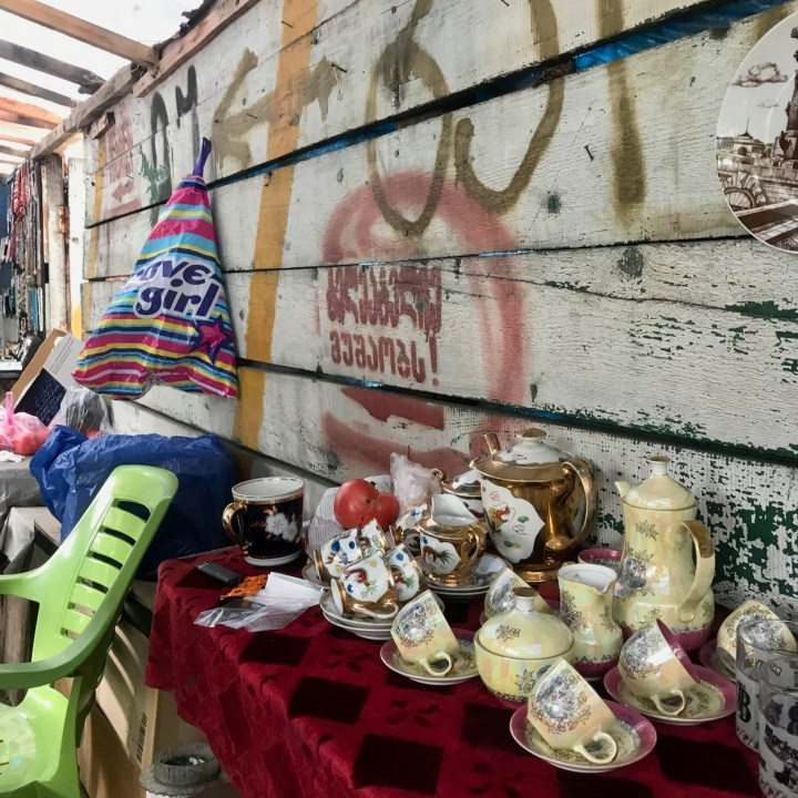 Tbilisi with kids Dry Bridge Market tea sets