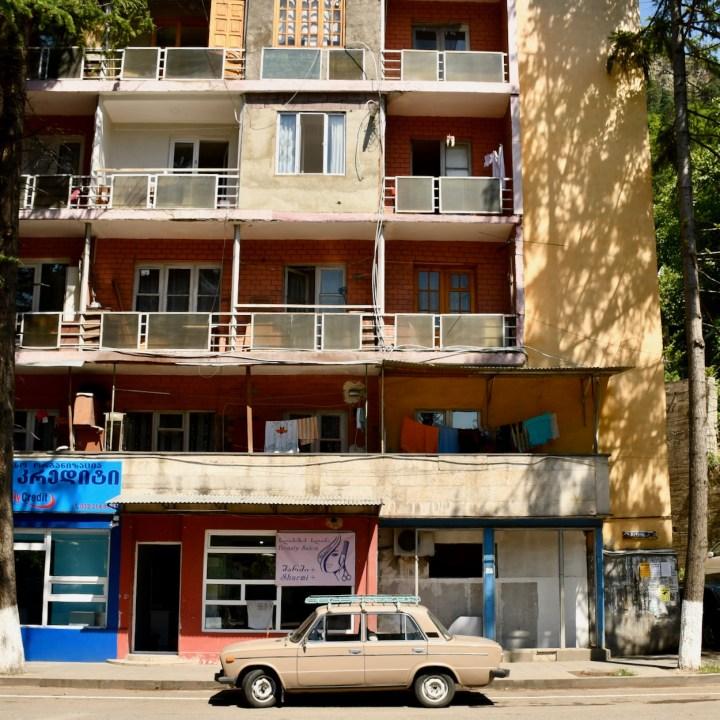 Borjomi Georgia with kids apartment block