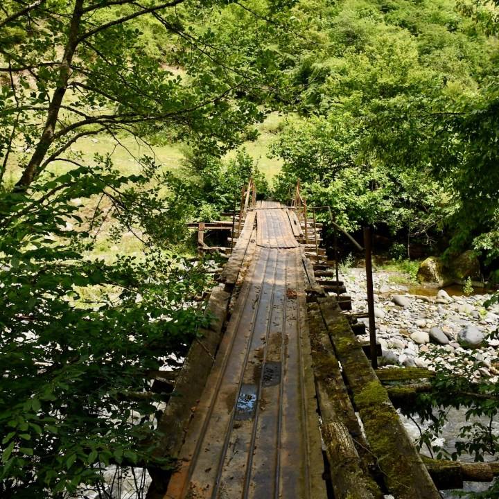 Borjomi with kids adventure trail rickety bridge