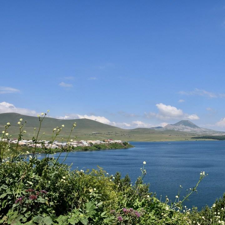 Lake Tabatskuri Georgia with kids panoramic views